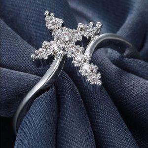 ❤️gorgeous 925 silver delicate Cross rhinestone ri